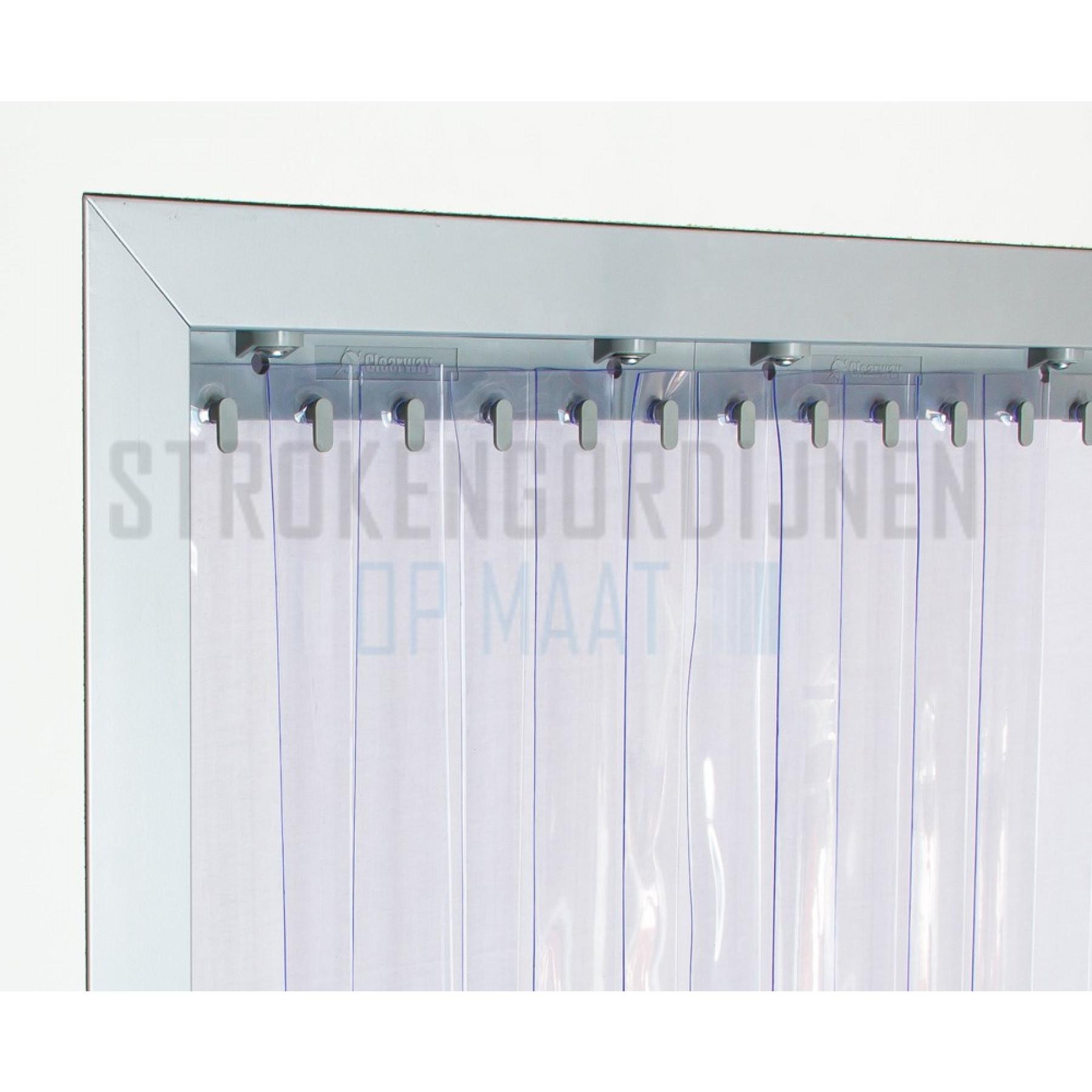 PVC op rol, 100mm breed, 1.2mm dik, 50 meter lengte, transparant