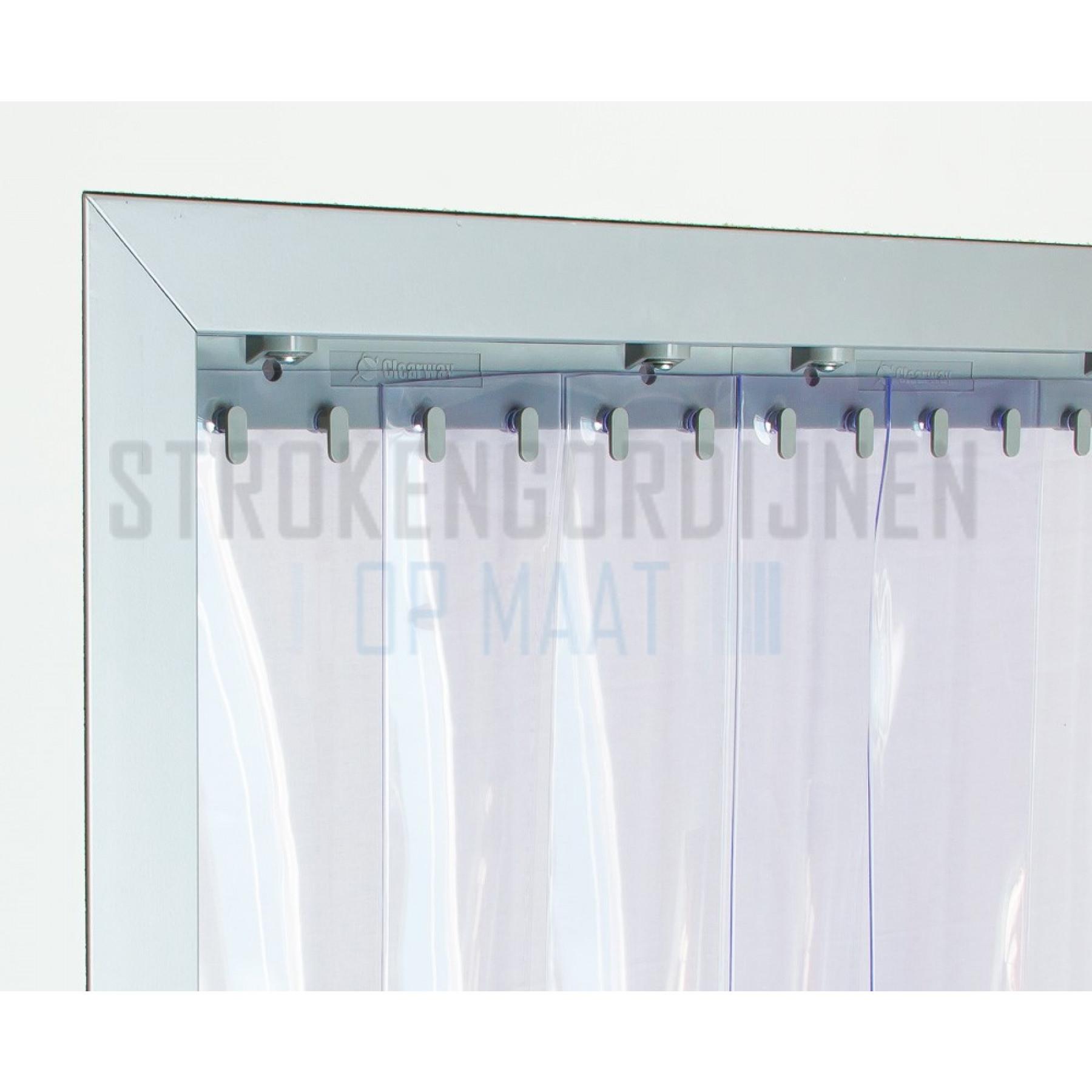 PVC stroken op maat, 200mm breed, 2mm dik, diepvrieskwaliteit, transparant