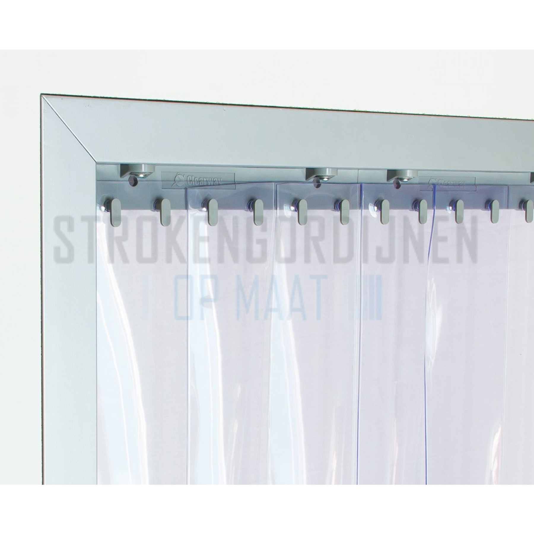 PVC stroken op maat, 200mm breed, 2mm dik, transparant