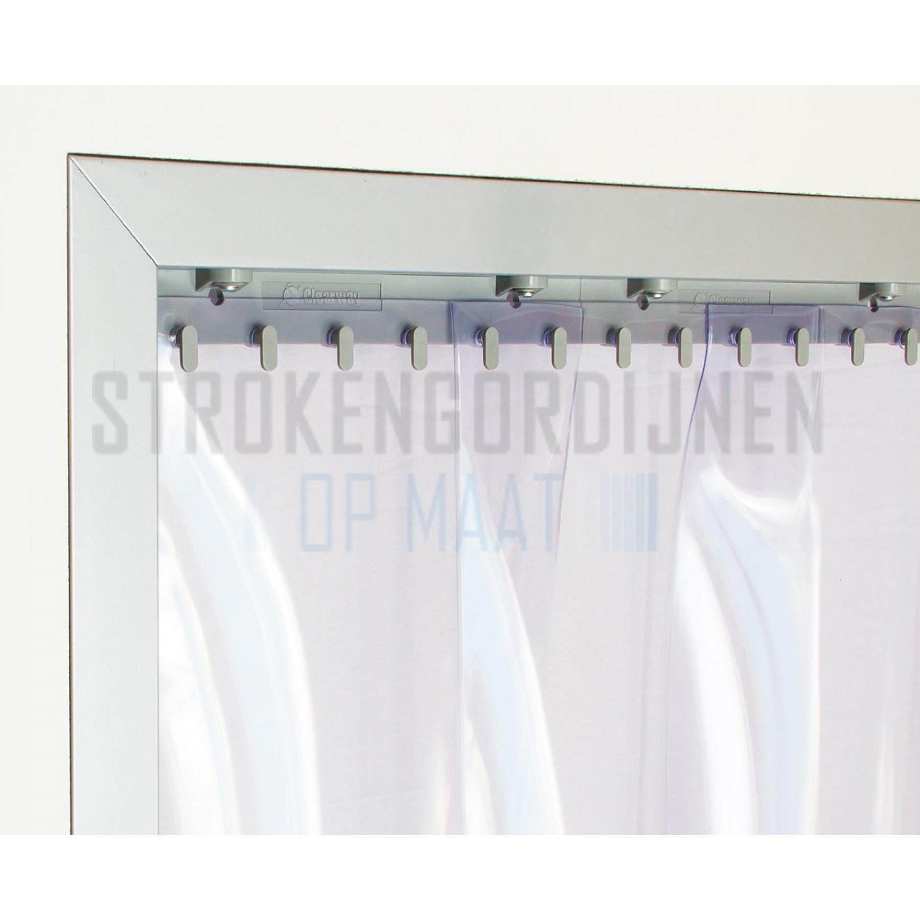 PVC stroken op maat, 300mm breed, 3mm dik, transparant