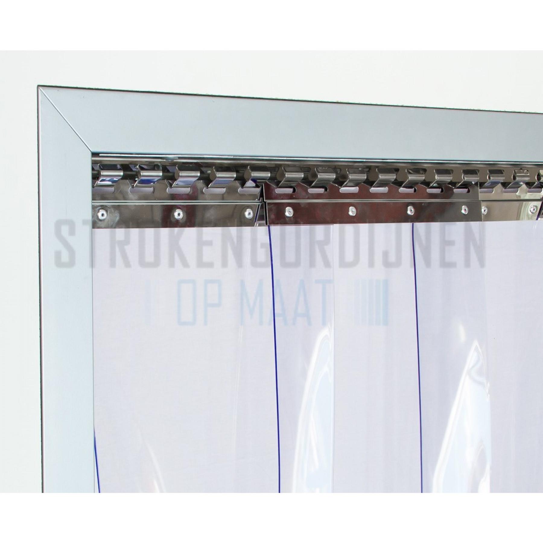 PVC stroken op maat, 300mm breed, 3mm dik, diepvrieskwaliteit, transparant