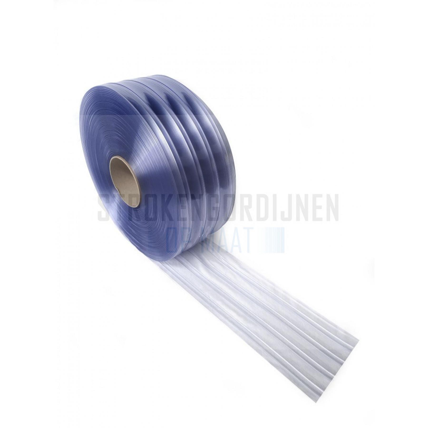 PVC Ribbed op rol, 200mm breed, 2mm dik, 50 meter lengte, diepvrieskwaliteit, transparant