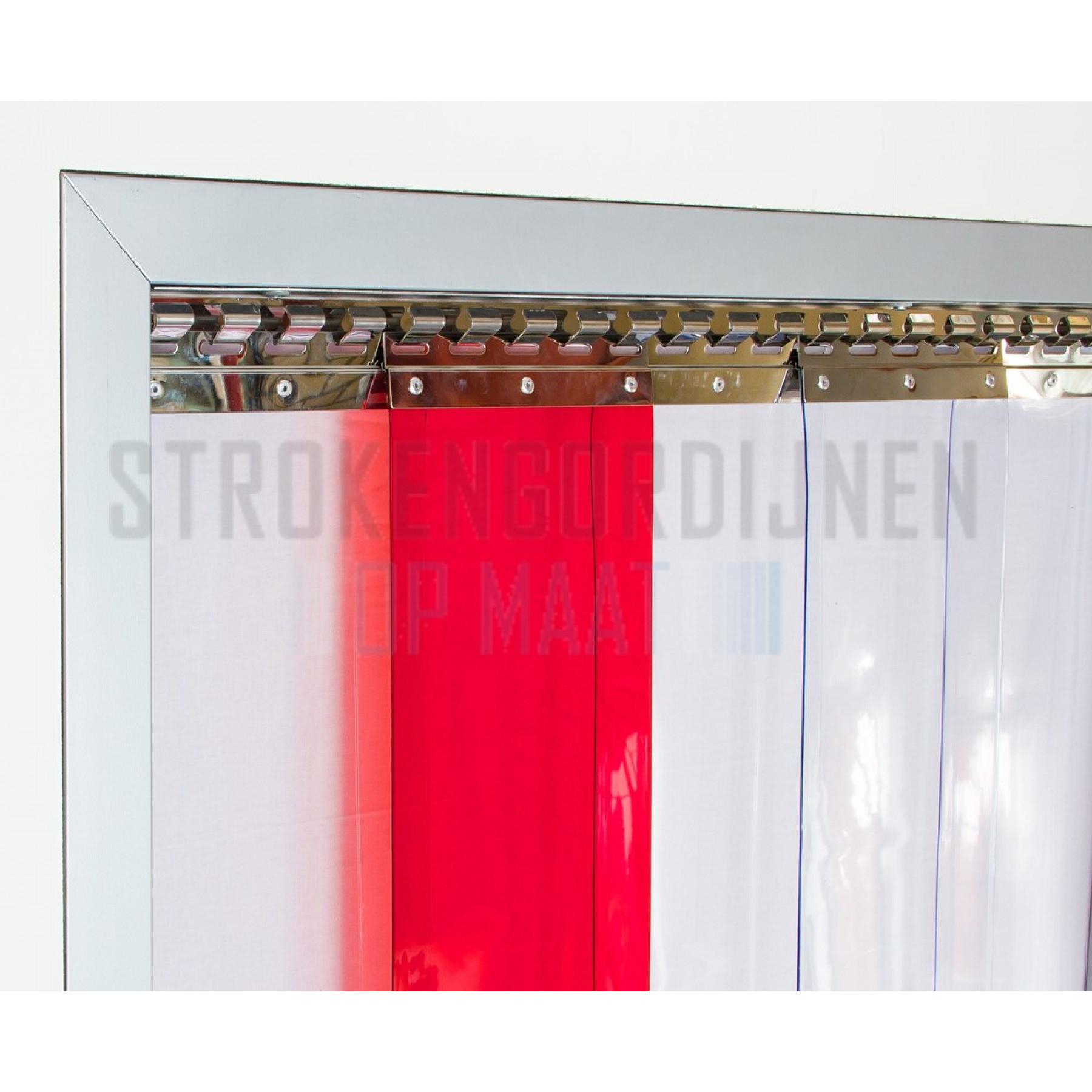 PVC op rol, 200mm breed, 2mm dik, 50 meter lengte, kleur rood, transparant