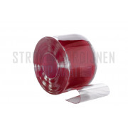 PVC stroken op maat, 300mm breed, 3mm dik, kleur rood, transparant