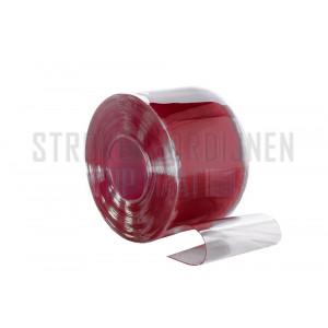 PVC op rol, 400mm breed, 4mm dik, 50 meter lengte, kleur rood, transparant